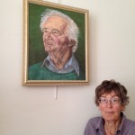 Judy with her portrait of Daniel Waley